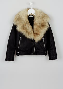 Girls Black PU Faux Fur Trim Biker Jacket (4-13yrs)