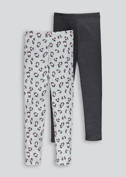 Girls 2 Pack Leopard Print Leggings (4-13yrs)