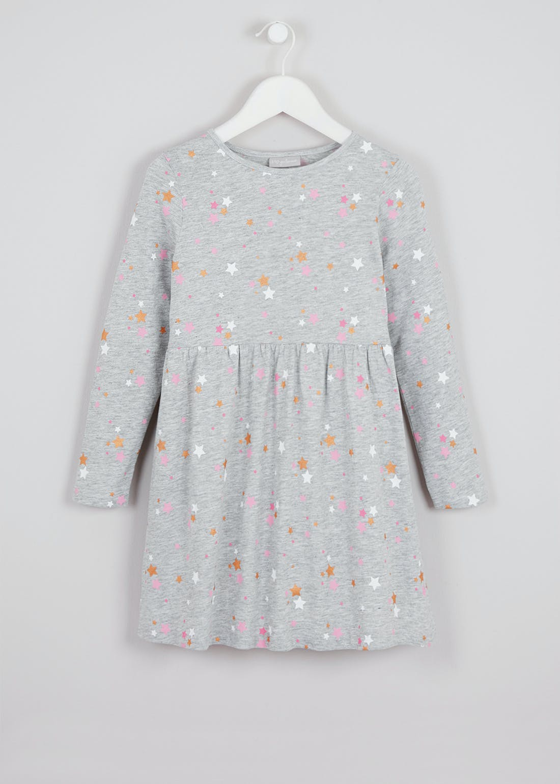 Girls Grey Long Sleeve Star Jersey Dress (4-13yrs)