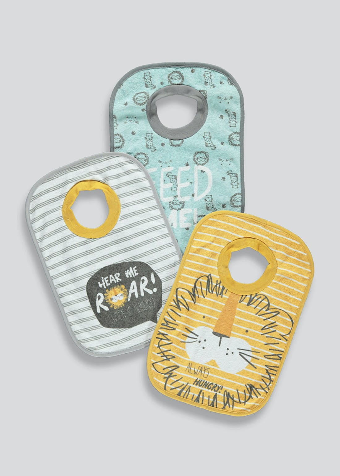 3 Pack Tiger Pop Over Bibs (One Size)