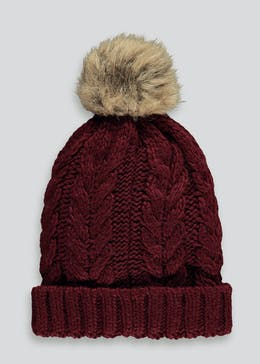 Girls Faux Fur Bobble Hat (7-13yrs)