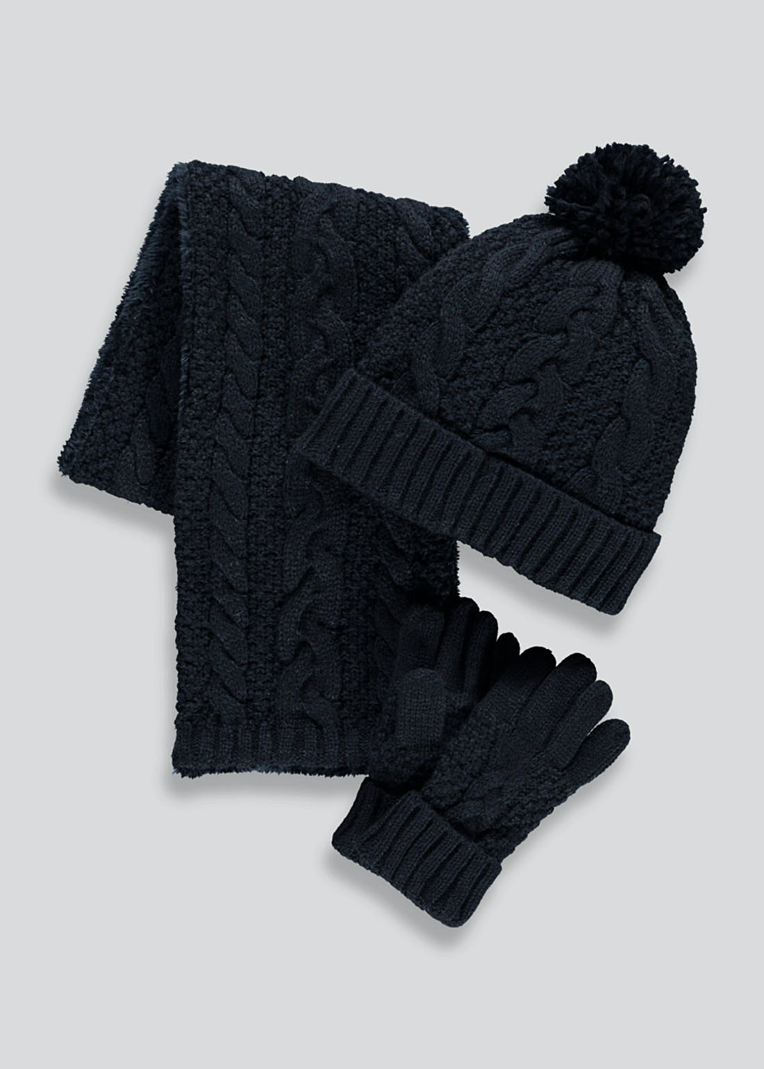 Kids Knitted Hat Scarf and Gloves Set (7-13yrs)