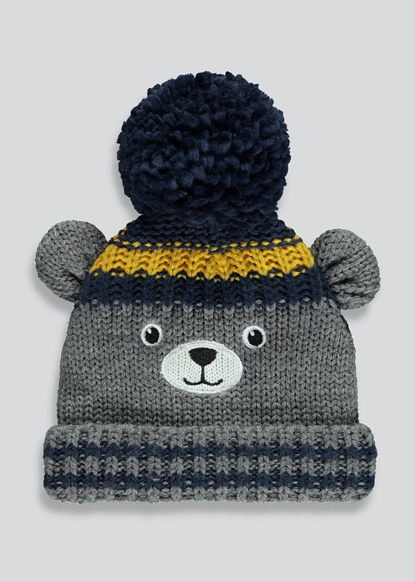 Kids Pom  Bear Beanie (Newborn-6yrs)