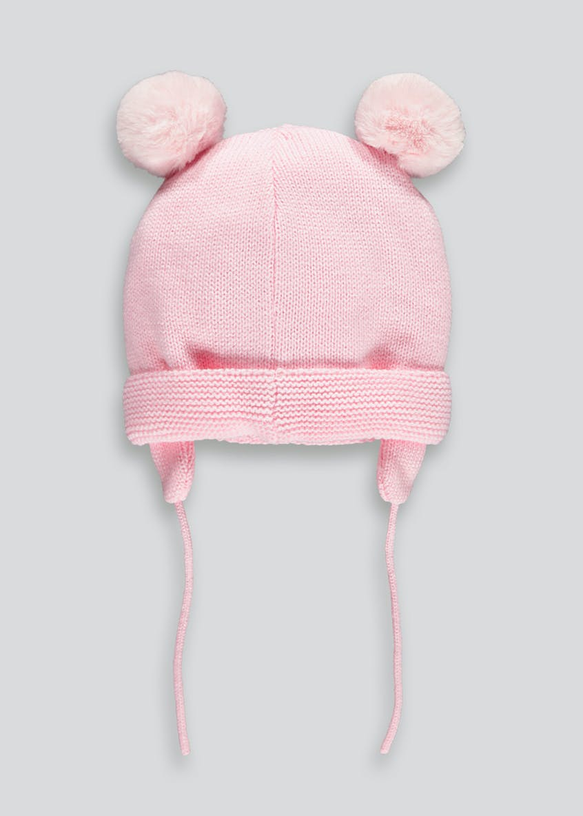 Girls Double Pom Beanie with Drawstrings (Newborn-24mths)