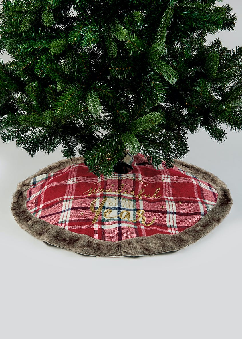 Tartan Faux Fur Christmas Tree Skirt (85cm)