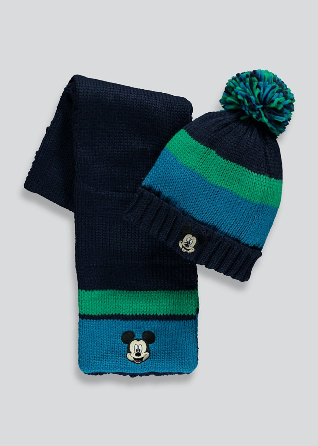 Kids Mickey Mouse Hat and Scarf Set (3-6yrs)