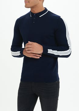 Stripe Long Sleeve Knitted Polo Shirt