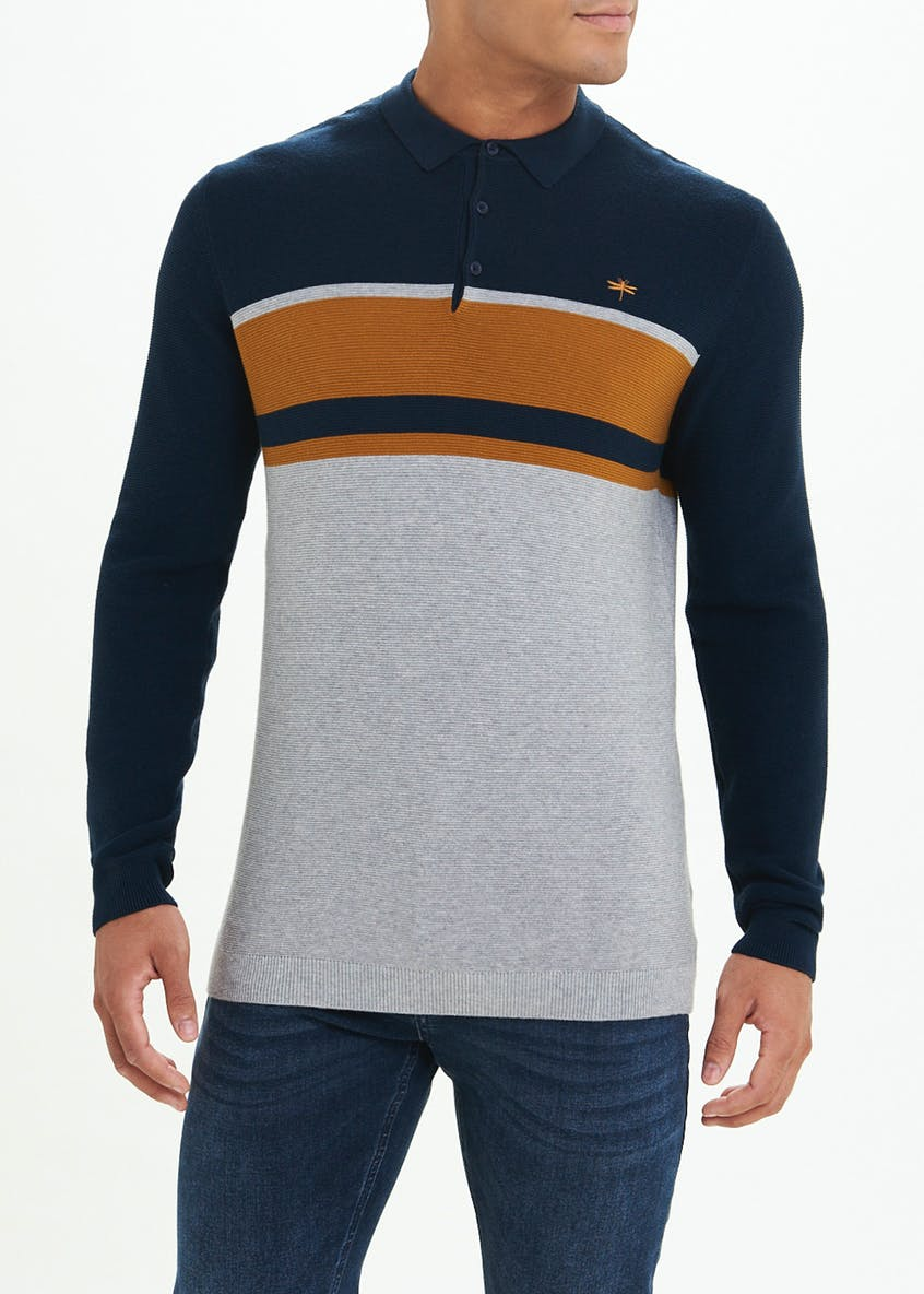 Knitted Colour Block Polo Shirt