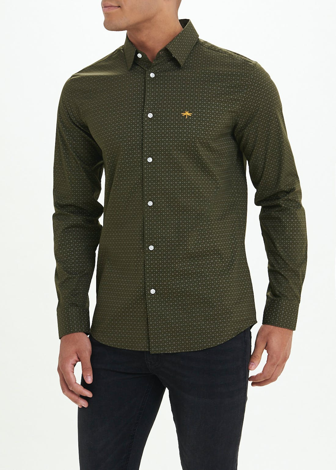 Slim Fit Geo Print Long Sleeve Shirt