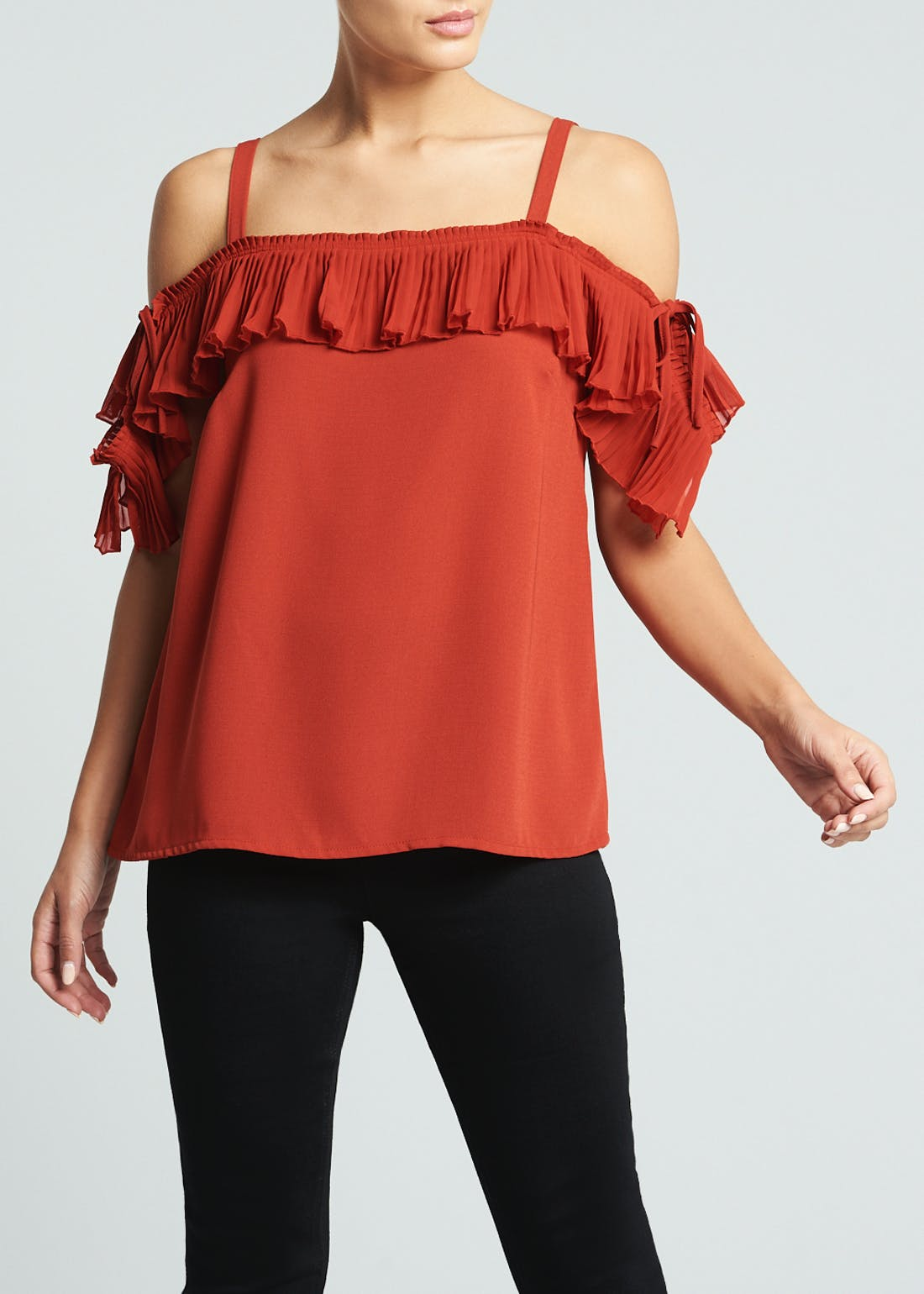 Soon Rust Pleated Cold Shoulder Top