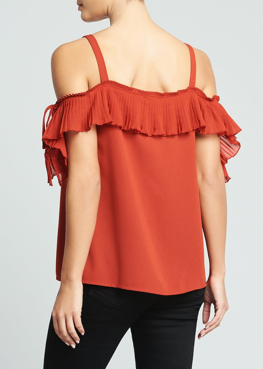Soon Pleated Cold Shoulder Top