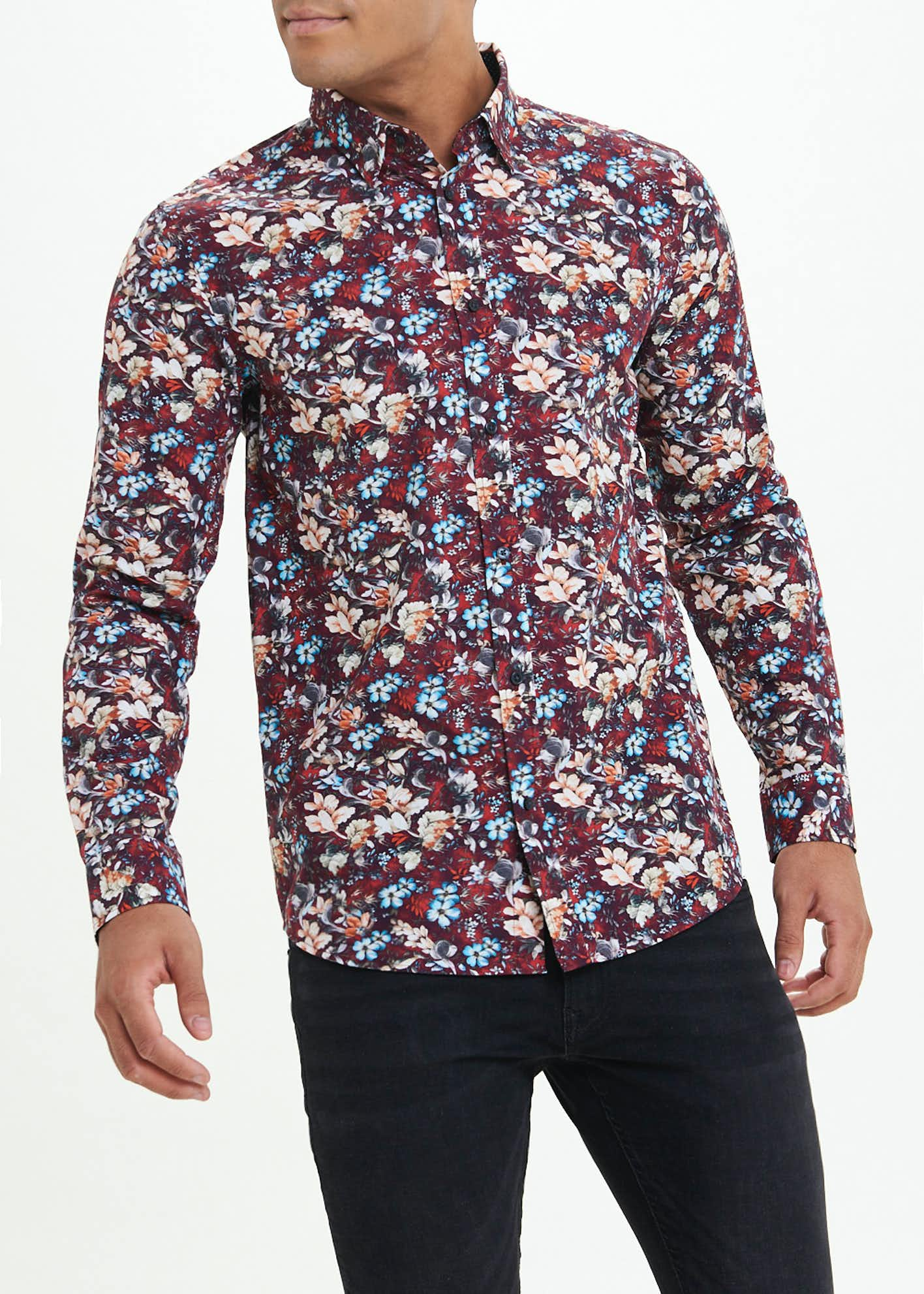 Easy Black Label Slim Fit Long Sleeve Floral Shirt