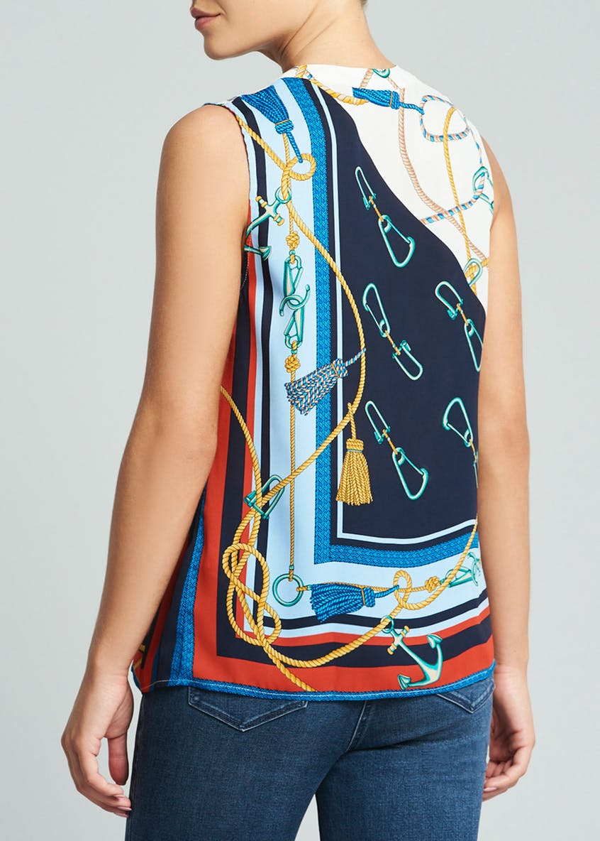 Blue Rope Print Sleeveless Blouse