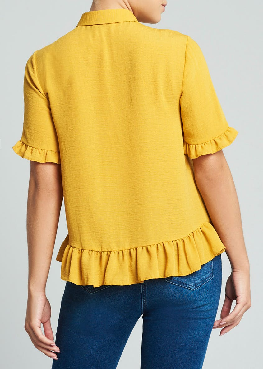 Yellow Frill Button Front Shirt