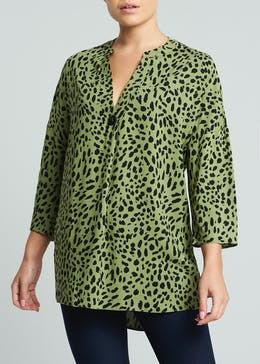 Animal Print Grandad Collar Blouse