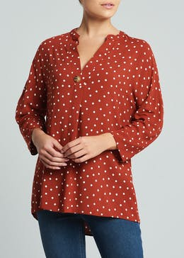 Polka Dot Grandad Collar Blouse