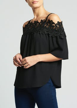 Soon Lace Trim Bardot Top