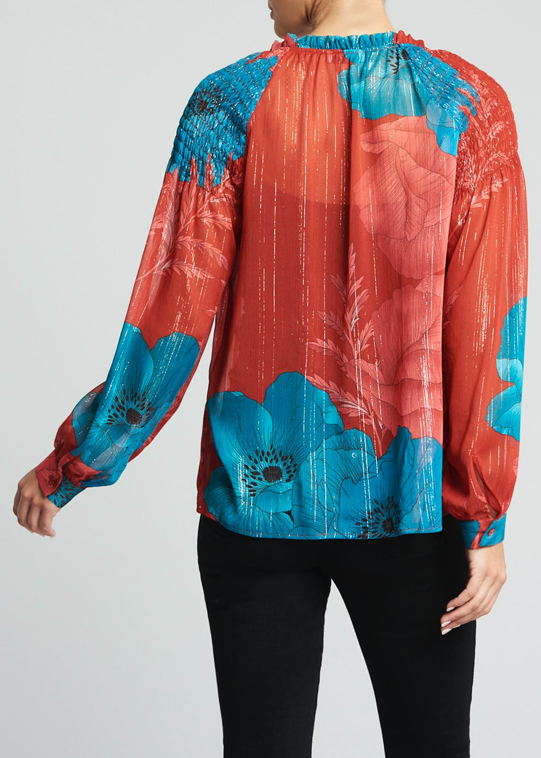 Soon Red Long Sleeve Metallic Floral Blouse