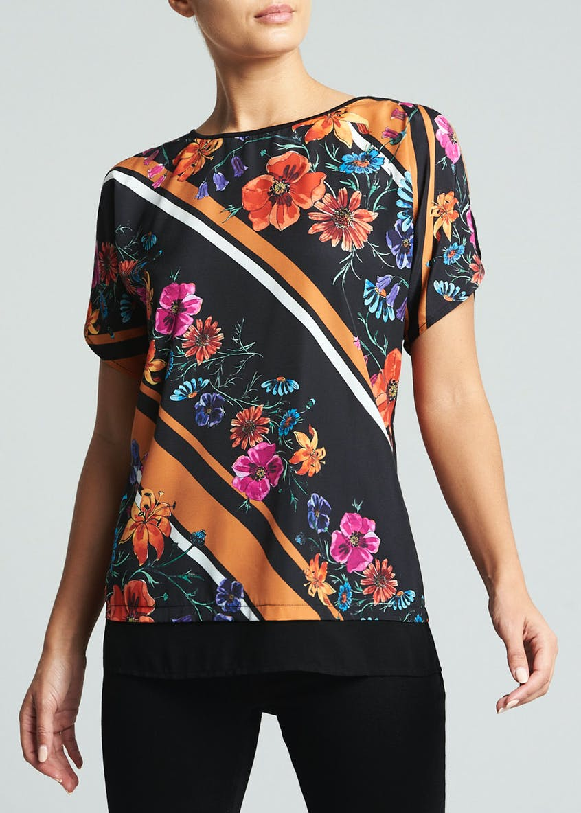 Soon Floral Stripe Woven Top