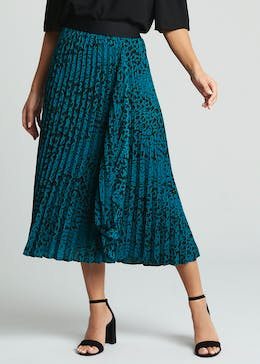 Soon Animal Print Pleated Midi Skirt
