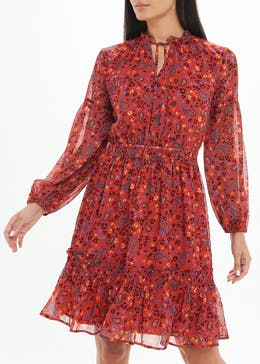 Red Long Sleeve Paisley Mini Dress