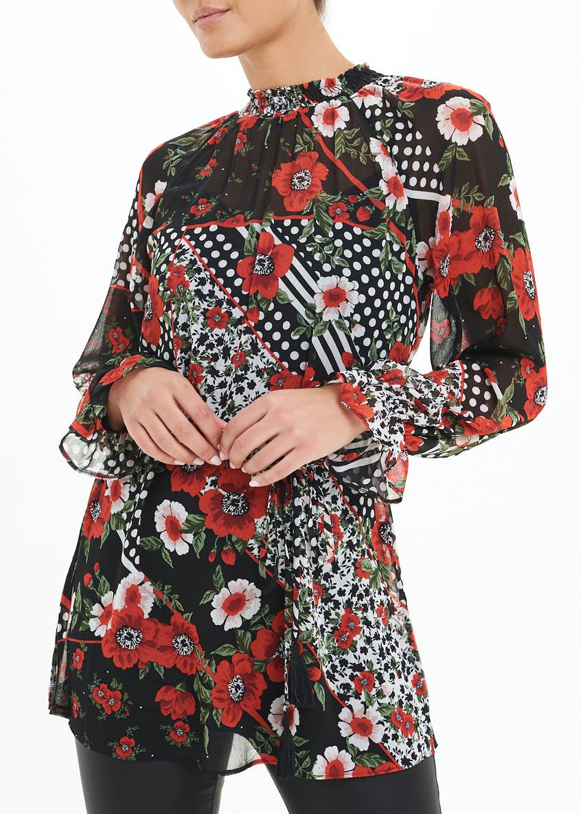 Floral High Neck Belted Tunic