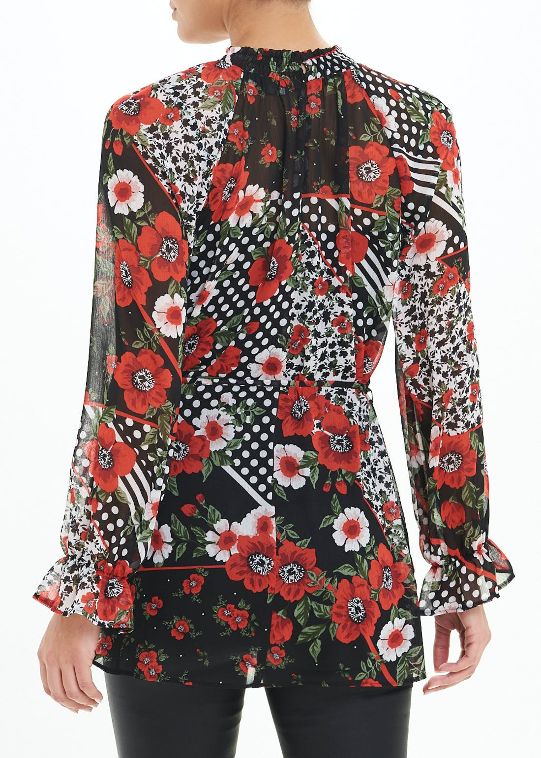 Red Long Sleeve Floral Belted Tunic