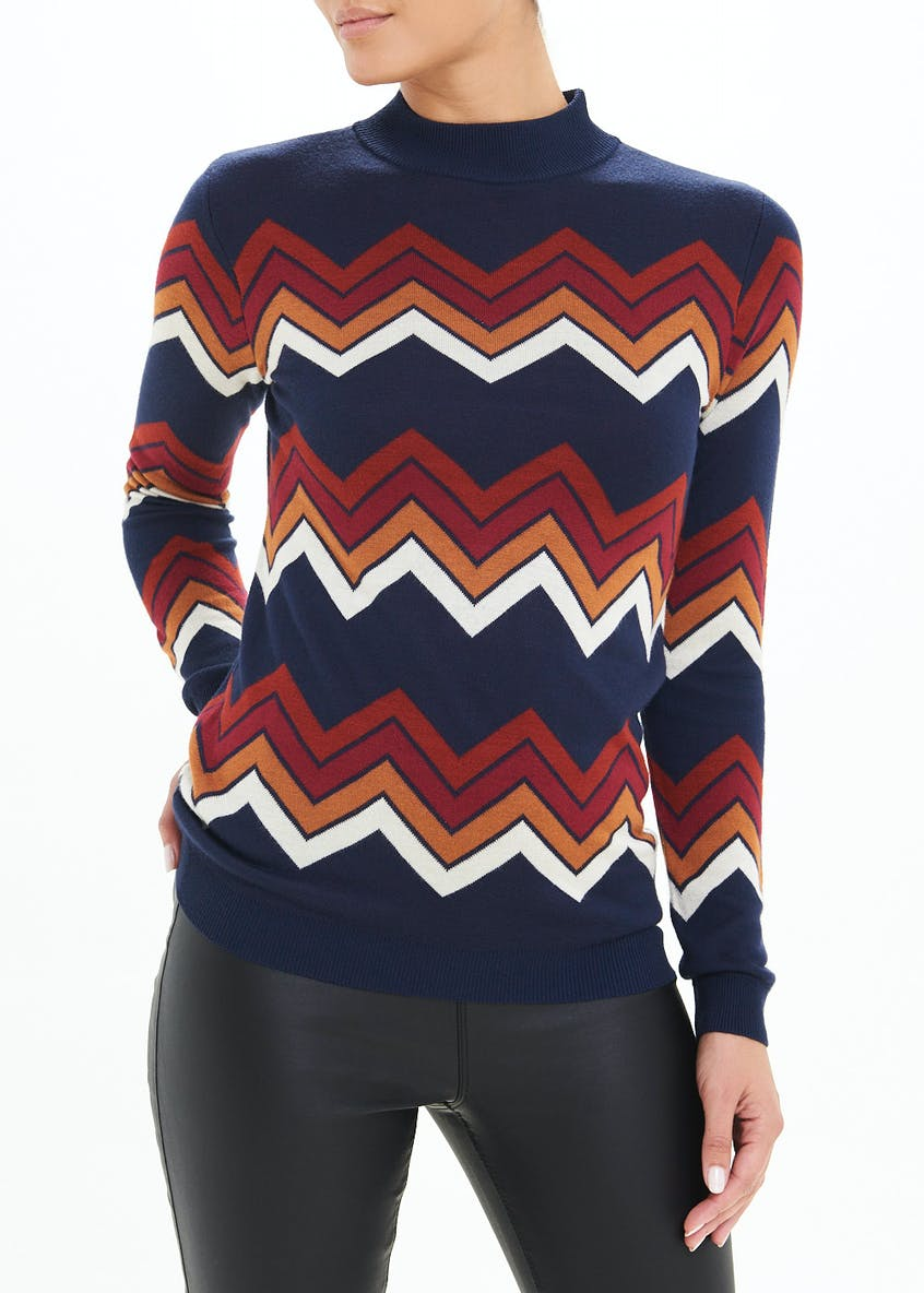 Zig Zag High Neck Jumper