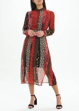 Mixed Animal Print Midi Shirt Dress