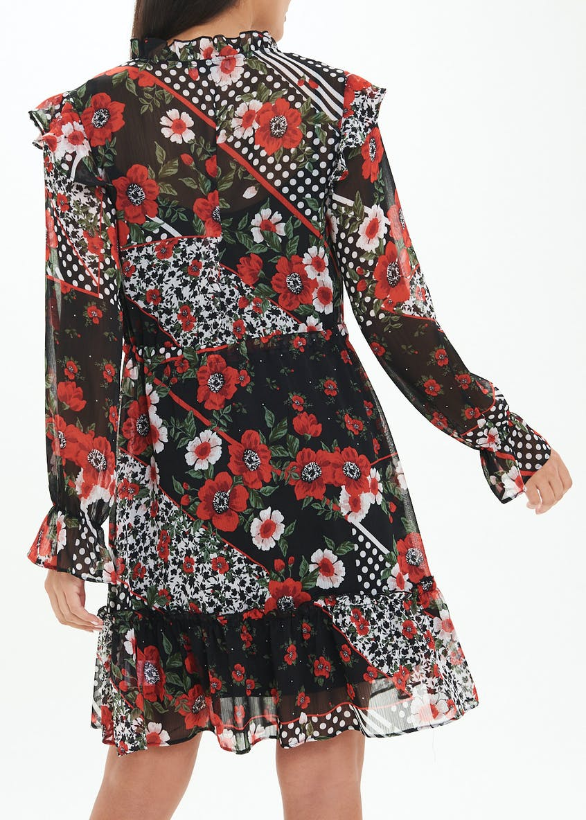 Red Long Sleeve Frill Floral Dress