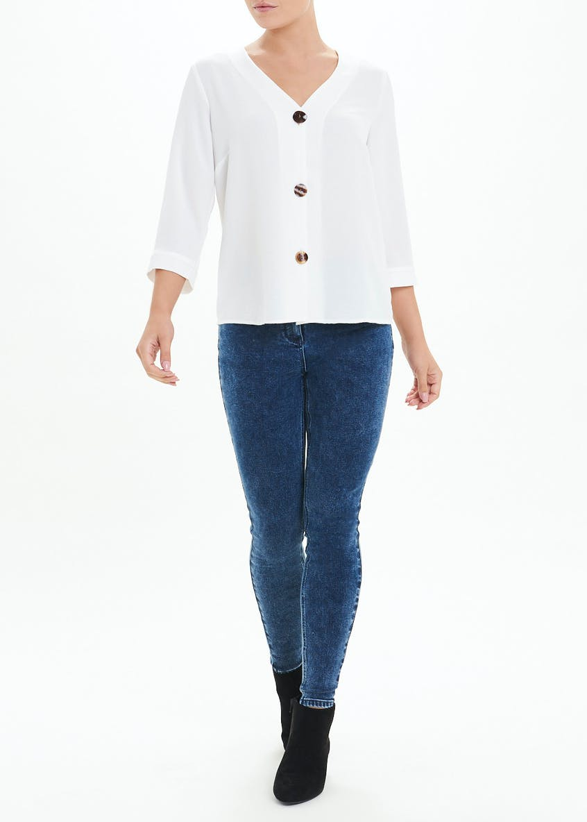 Cream Long Sleeve Button Front Blouse
