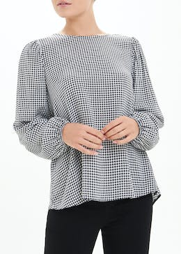 Dogtooth Check Blouse