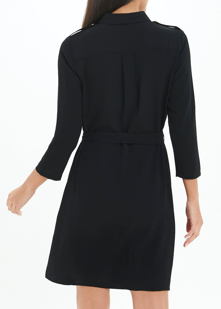 Black 3/4 Sleeve Belted Shirt Dress