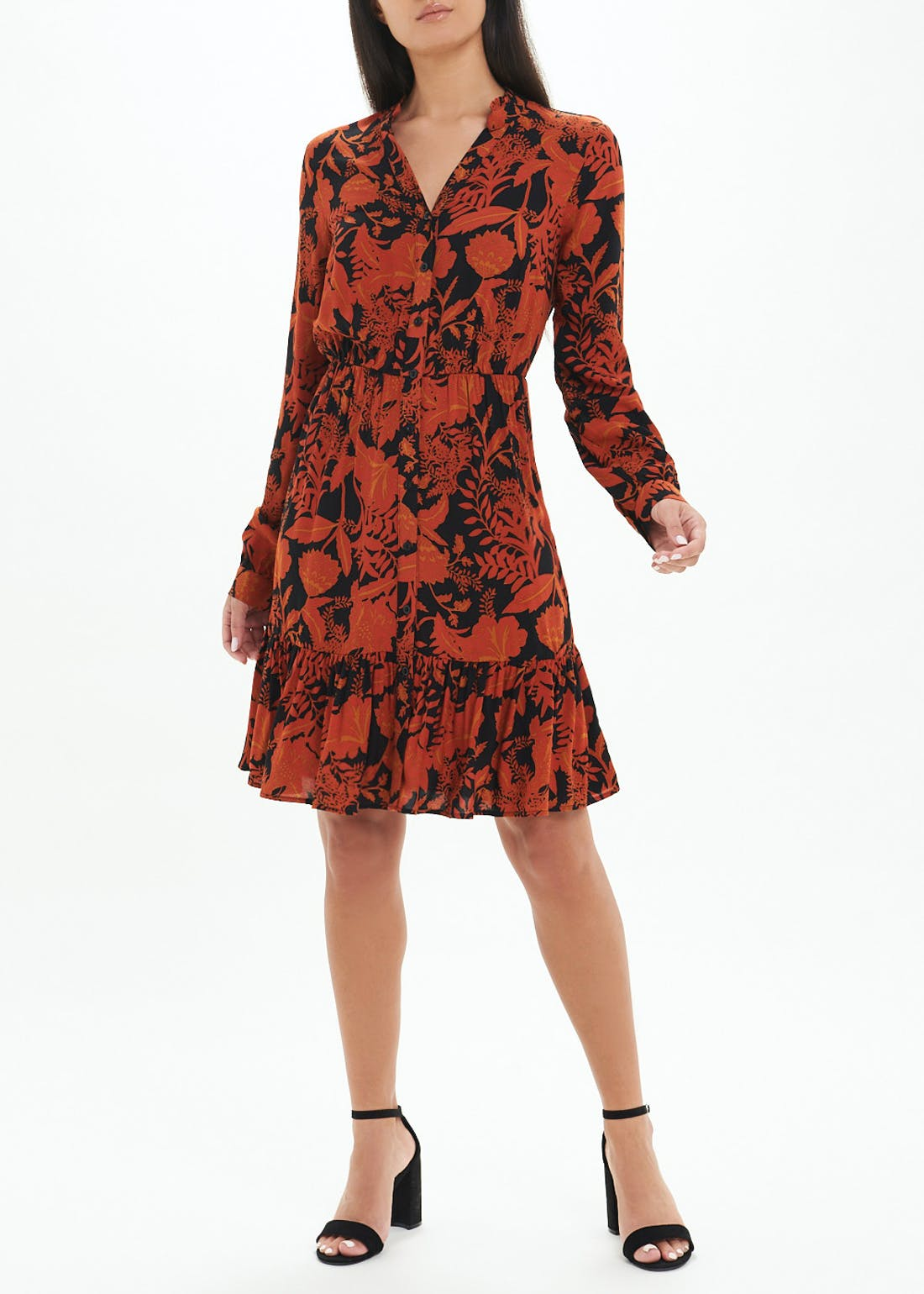 Floral Frill Shirt Dress