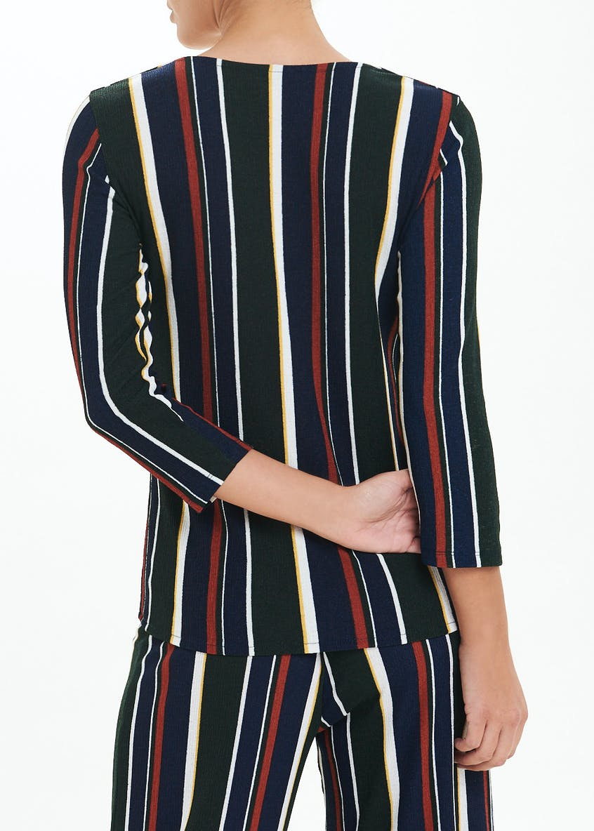 3/4 Sleeve Stripe Co-Ord Button Front Top