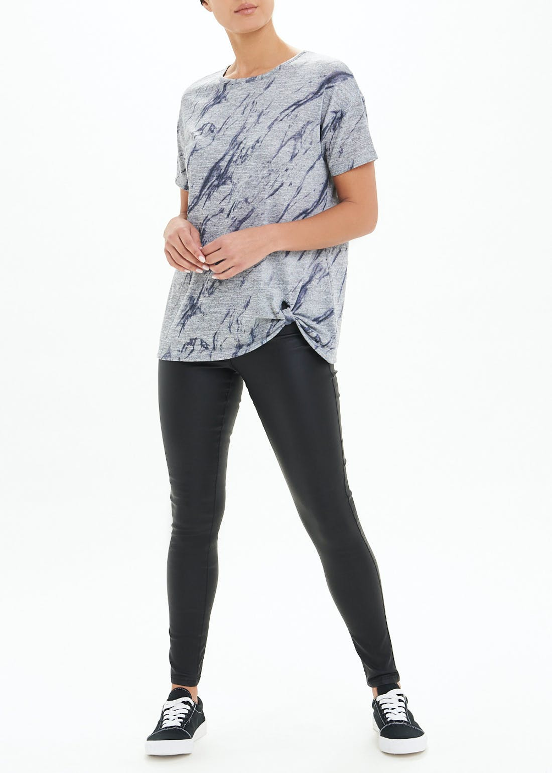 Marble Printed Knot Front T-Shirt