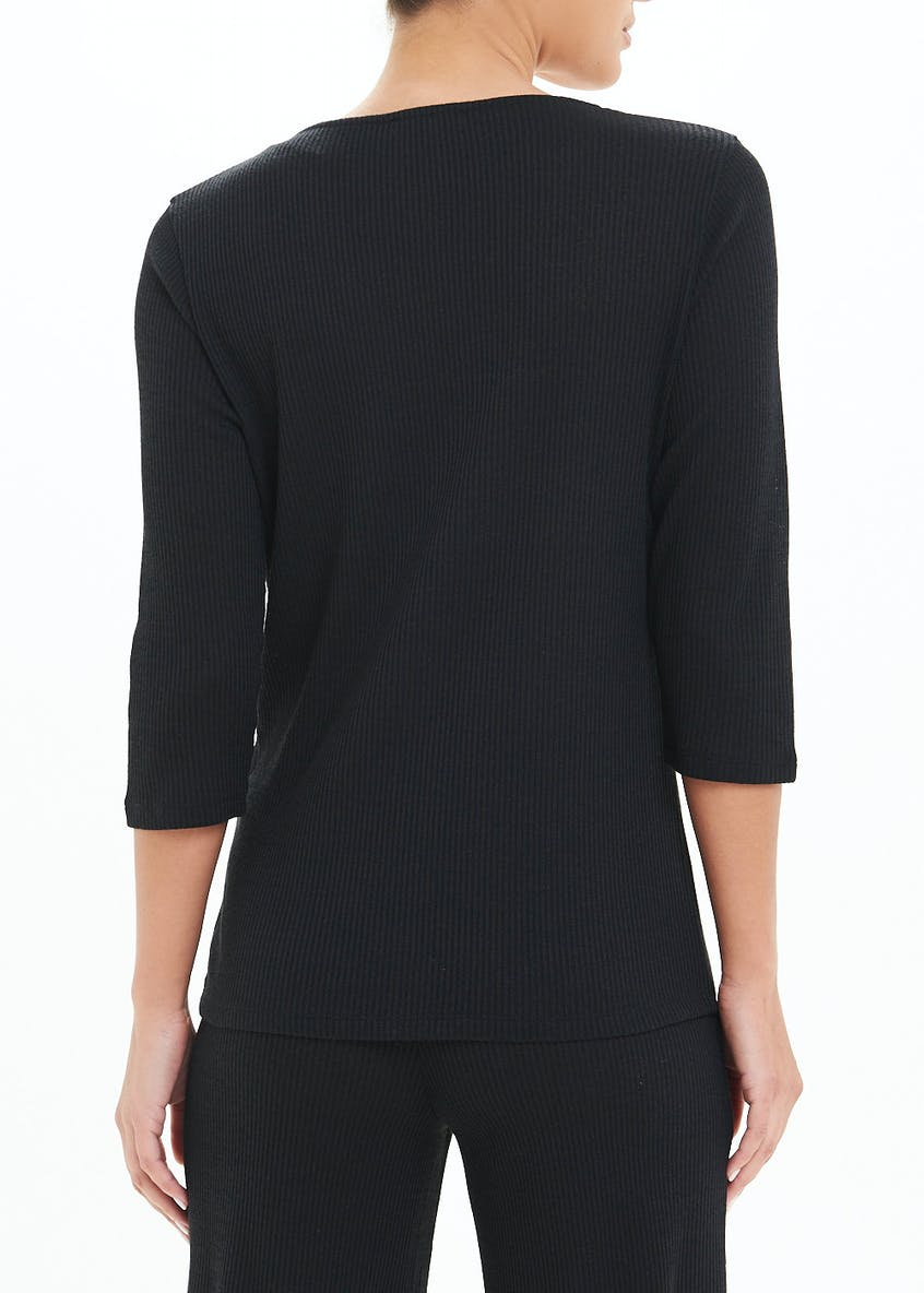 3/4 Sleeve Ribbed Lounge Co-Ord Top