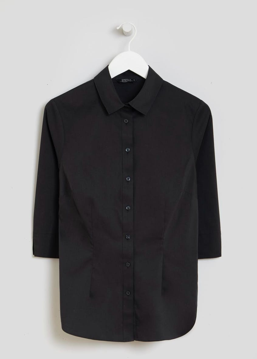 Black 3/4 Sleeve Fitted Shirt