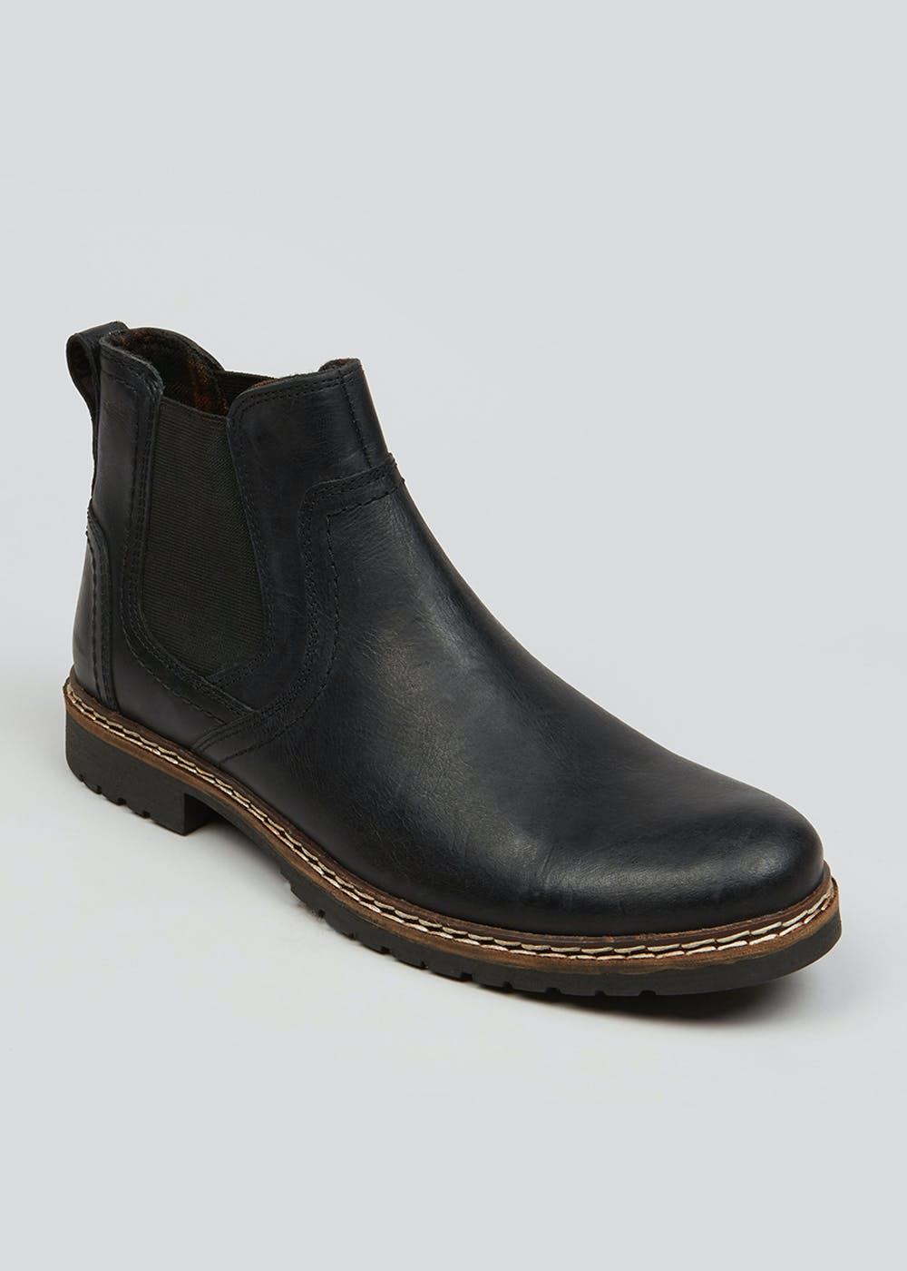 Black Leather Chelsea Boots by Matalan
