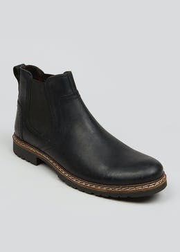 Easy Black Label Black Real Leather Chelsea Boots