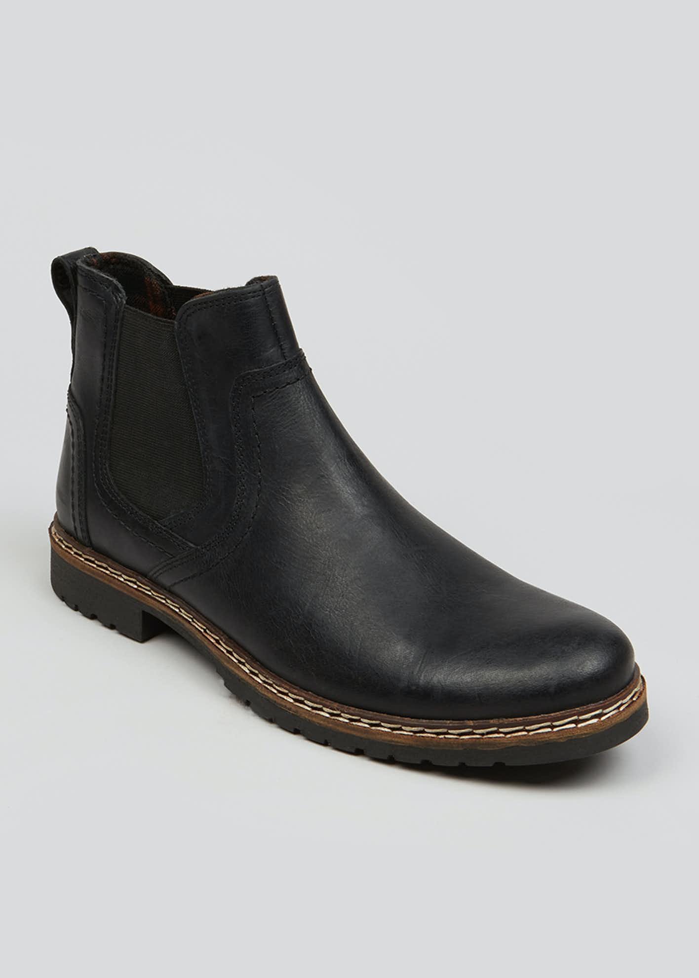 Black Real Leather Chelsea Boots