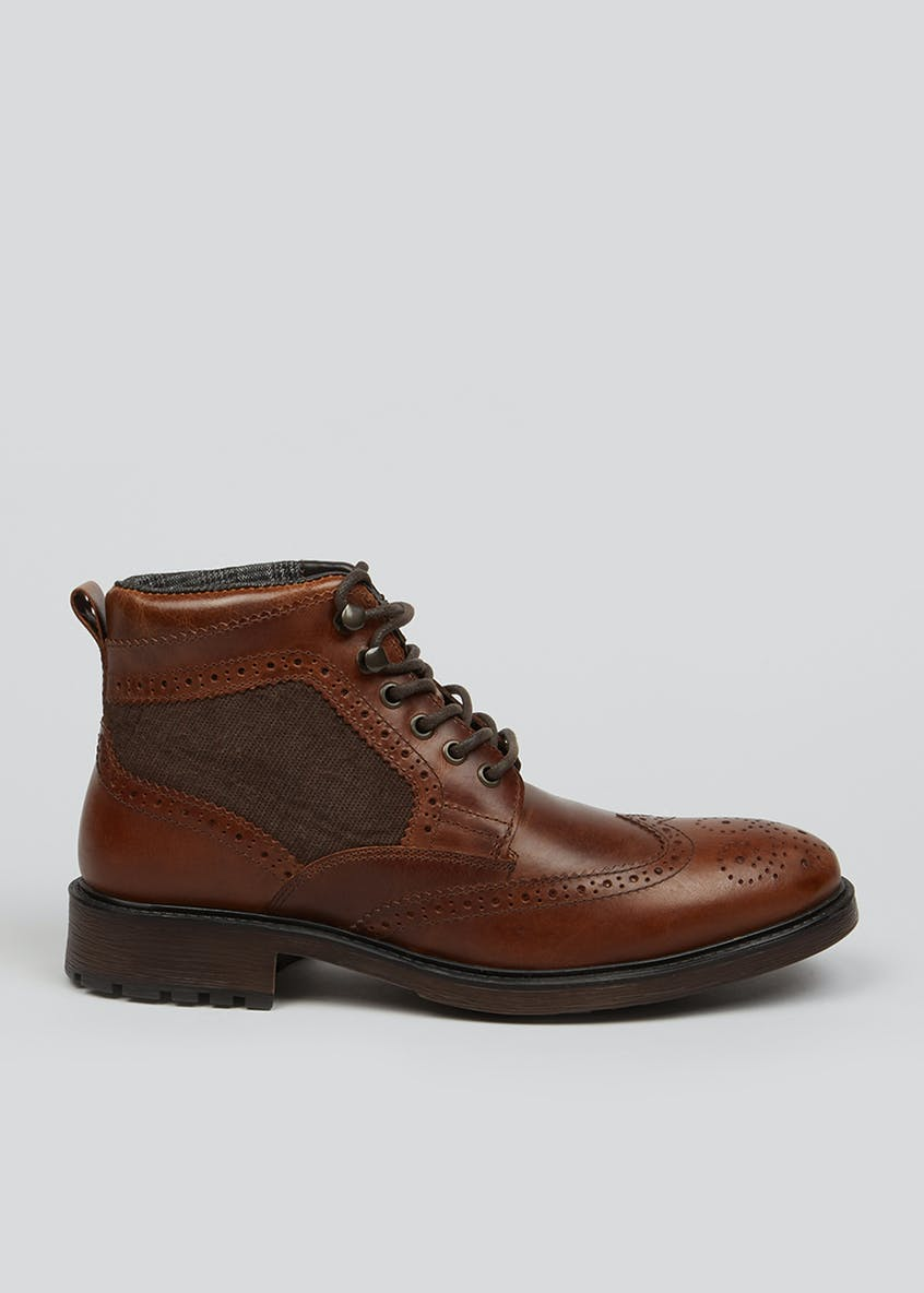 Brown Real Leather Brogue Boots