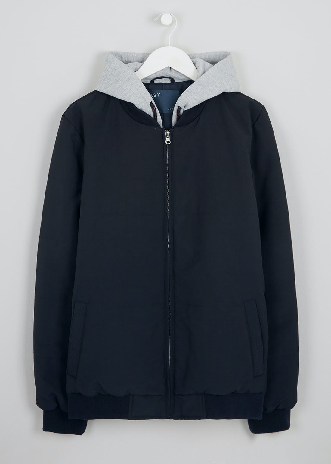 Navy Quilted Hooded Jacket