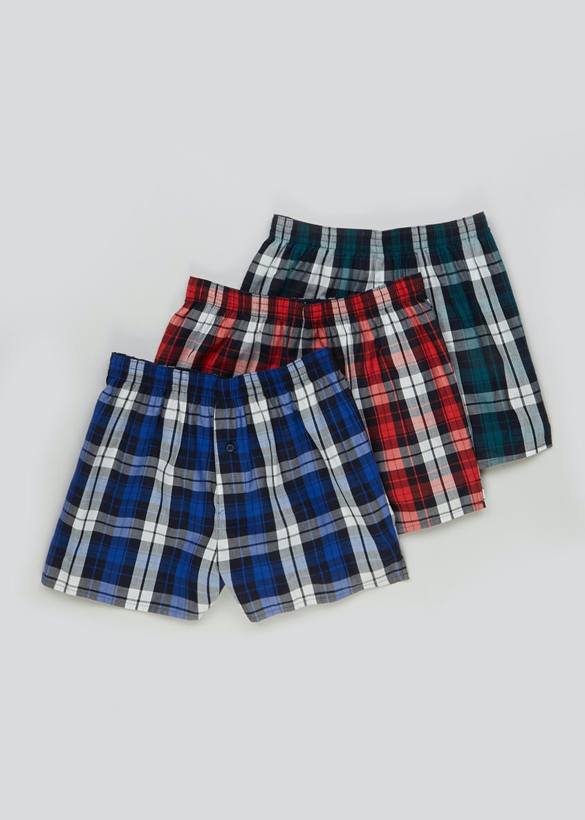 3 Pack Checked Boxers