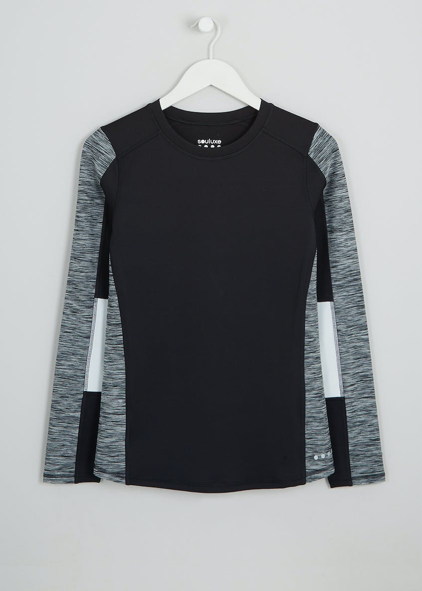 Souluxe Black Panelled Long Sleeve Sports Top