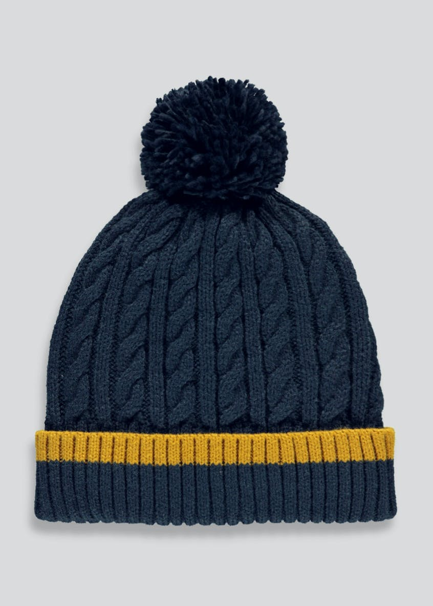 Cable Knit Beanie Bobble Hat