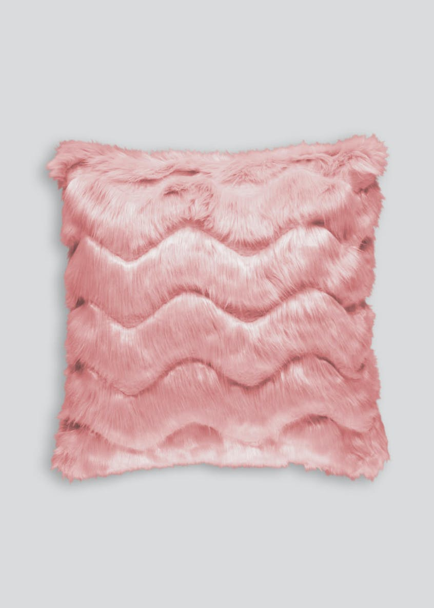 Carved Wave Faux Fur Cushion (48cm x 48cm)