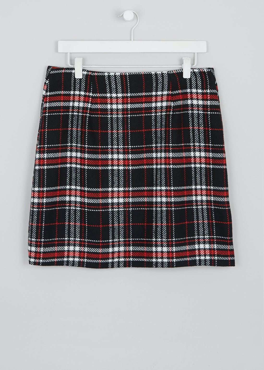 Zip Front Check A-Line Skirt