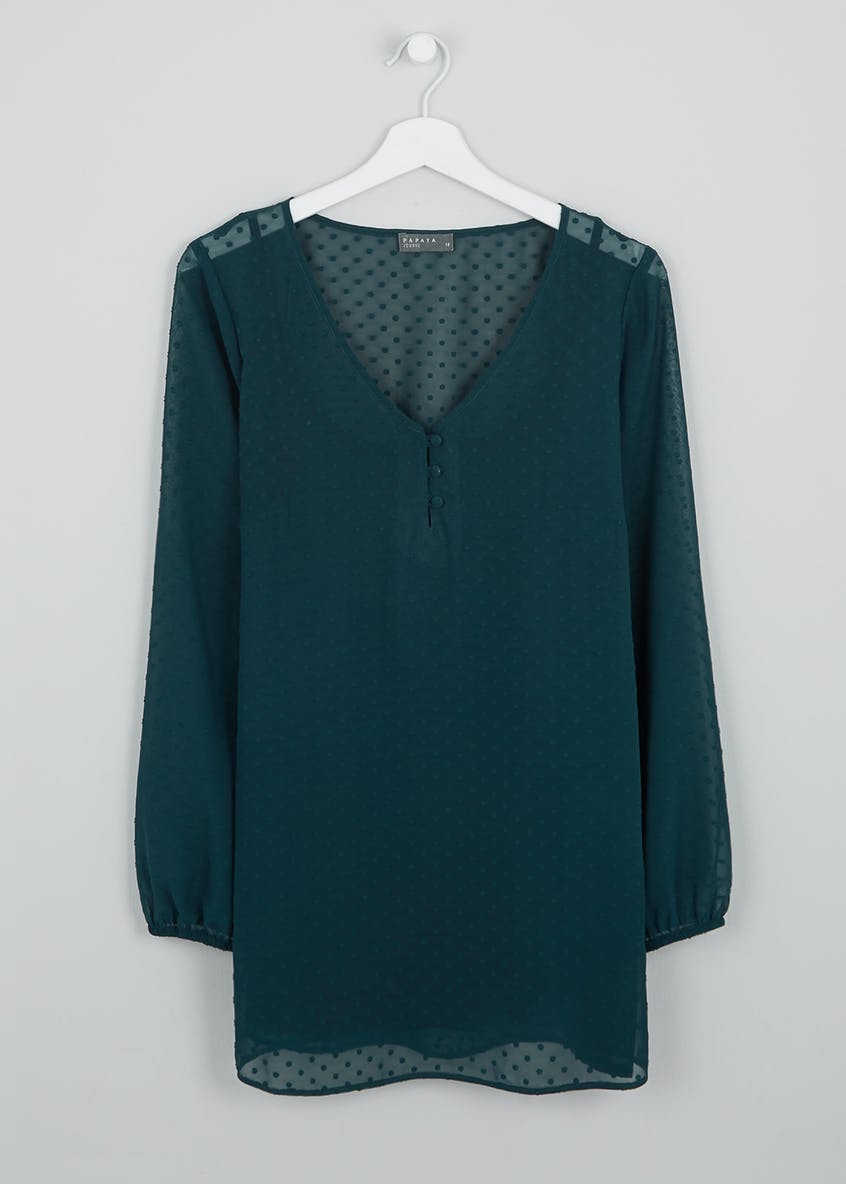 Papaya Curve Teal Long Sleeve Floaty Blouse