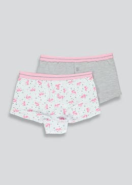 Girls 2 Pack Unicorn Boy Shorts (6-11yrs)
